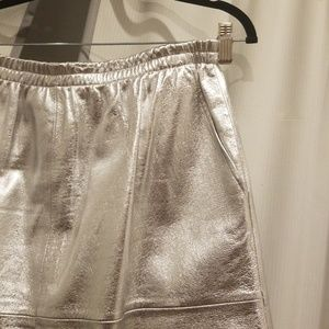 Thacker Skirts - Silver leather A-line Thacker skirt XL (fits lk L)